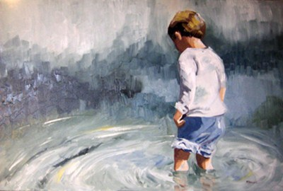 """""""Wading In"""" original fine art by Marcia Hodges"""