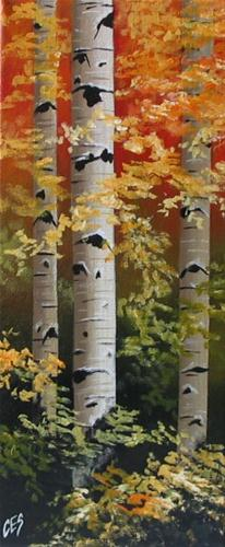 """""""Autumn Birch"""" original fine art by ~ces~ Christine E. S. Code"""