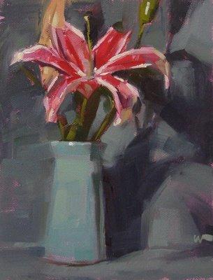 """""""Day Lily on Blue"""" original fine art by Carol Marine"""
