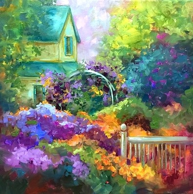 """Violet Veranda Rose Arbor - Flower Painting Classes and Workshops by Nancy Medina Art"" original fine art by Nancy Medina"