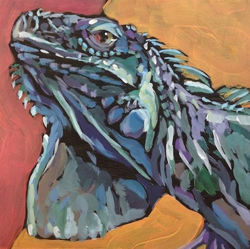 """March 7, Frank the Iguana"" original fine art by Kat Corrigan"