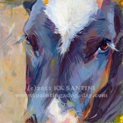 """Baby Moo"" original fine art by Kimberly Santini"
