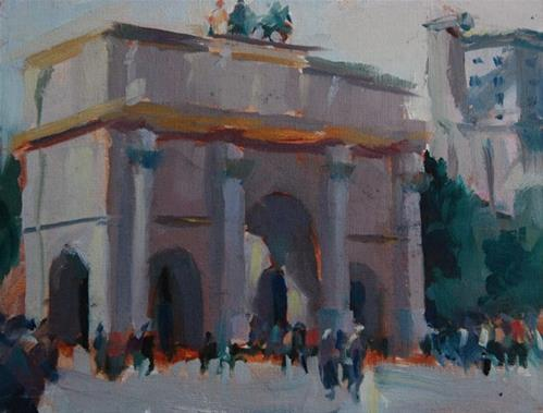 """Carousel Arch near the Louvre, Paris"" original fine art by Margaret Dyer"