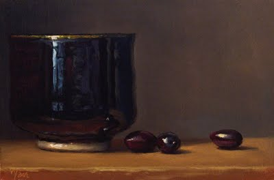 """""""Still Life with Tea Bowl and Olives"""" original fine art by Abbey Ryan"""