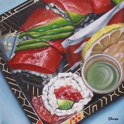 """Asian Influence - Sushi No. 1"" original fine art by Jelaine Faunce"