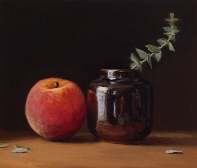 """""""Still Life with Peach, Ink Bottle, and Eucalyptus"""" original fine art by Abbey Ryan"""
