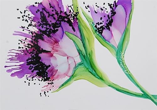 """Lavender Poppy II, 5 x 7 inch Alcohol Ink, Floral"" original fine art by Donna Pierce-Clark"