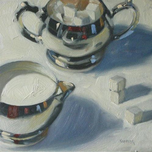 """Cream or sugar 6x6 oil"" original fine art by Claudia Hammer"