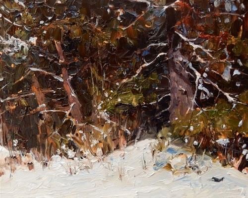 """Winter Woodland winter landscape painting by Robin Weiss"" original fine art by Robin Weiss"