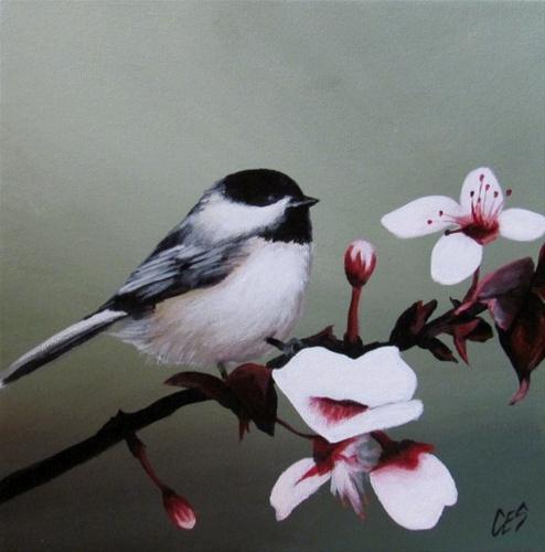 """""""Chickadee and Blossoms"""" original fine art by ~ces~ Christine E. S. Code"""