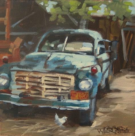 """""""Truck 'N Cluck"""" original fine art by Karen Werner"""