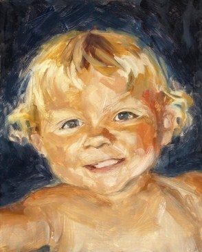 """""""Oil Portrait of a Boy with Blond Hair"""" original fine art by Deb Anderson"""