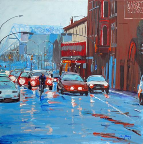 """Blue Bridge Morning"" original fine art by Darlene Young"