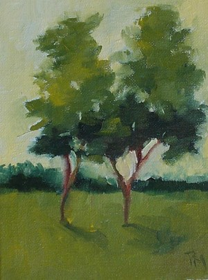 """""""Two Trees Against Yellow"""" original fine art by Pamela Munger"""