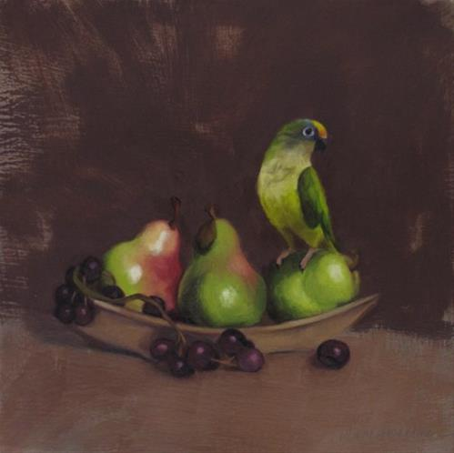 """""""Bird and Pears, new small still life, conure painting"""" original fine art by Diane Hoeptner"""