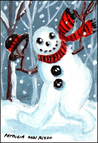 """What a Happy Snowman!"" original fine art by Patricia Ann Rizzo"