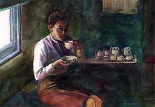 """""""Watercolor: Coffee on the Train"""" original fine art by Belinda Del Pesco"""