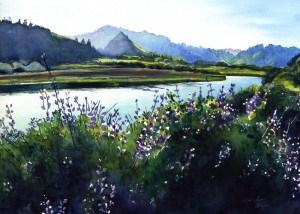 """Lupine by Ten Miles River"" original fine art by Mariko Irie"