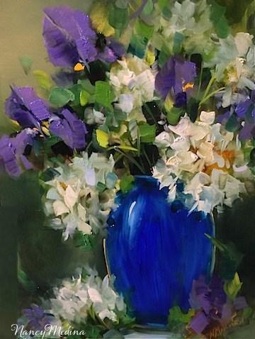 """The View from Ireland and White Hydrangeas Blooming"" original fine art by Nancy Medina"