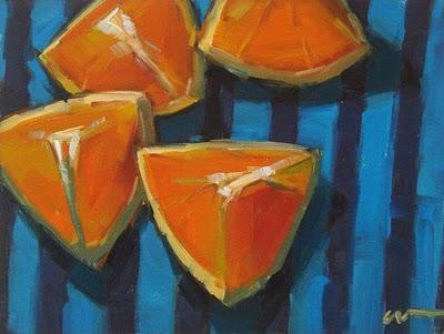 """Orange Stripes"" original fine art by Carol Marine"