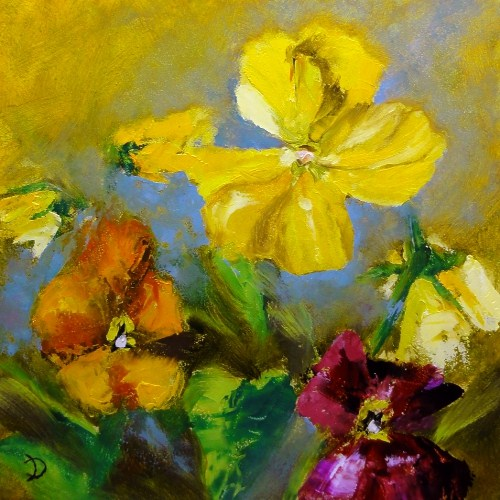 """Pansies For Sandy Fundraiser"" original fine art by Dalan Wells"