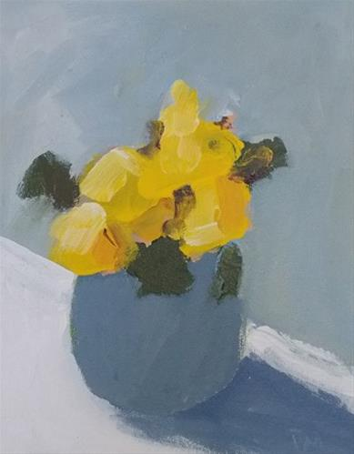 """Yellow in Grey"" original fine art by Pamela Munger"