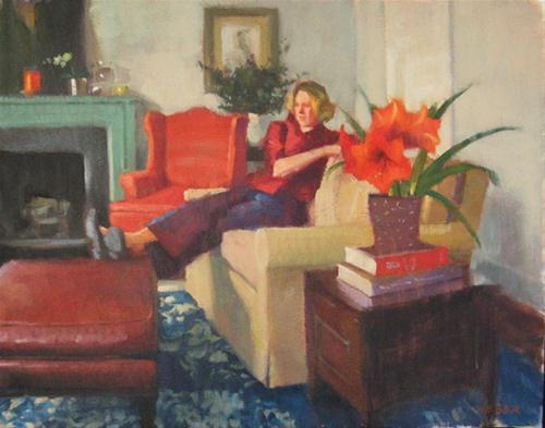"""Amaryllis"" original fine art by Kathy Weber"