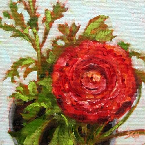 """Red ranunculus"" original fine art by Sandy Haynes"