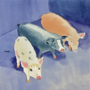 """Three Little Pigs"" original fine art by Dana Richards"