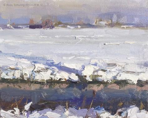 """Landscape winter 12 Sunny day essence (sold)"" original fine art by Roos Schuring"