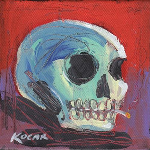 """Smokin' Skull #14"" original fine art by George Kocar"