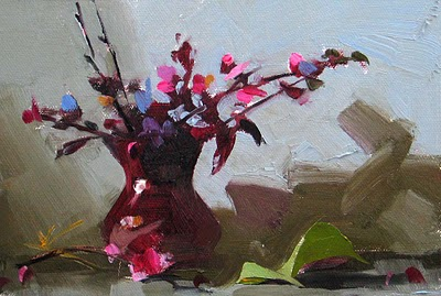 """Purple Flowers --- Sold"" original fine art by Qiang Huang"