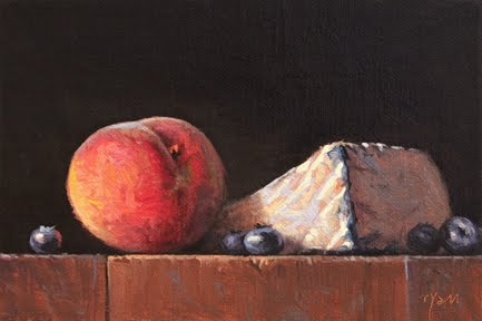 """Peach and Blueberries with Humboldt Fog"" original fine art by Abbey Ryan"