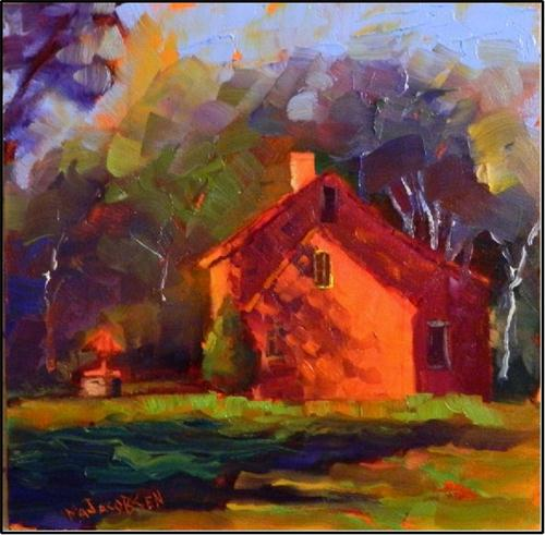 """The Wishing Well House, 6x6 oil on board"" original fine art by Maryanne Jacobsen"
