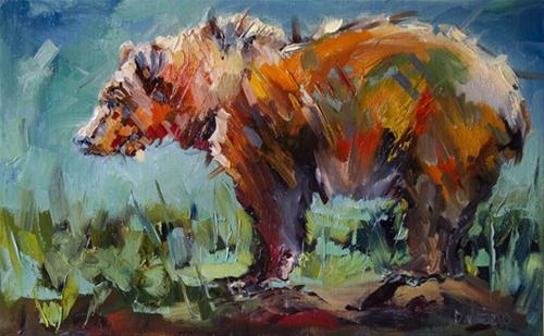 """""""BEAR STARE WILDLIFE OIL PAINTING BY DIANE WHITEHEAD FINE ART"""" original fine art by Diane Whitehead"""