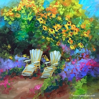 """""""French Rest Stop and a Tennessee Workshop - Flower and Landscape Paintings by Nancy Medina Art"""" original fine art by Nancy Medina"""