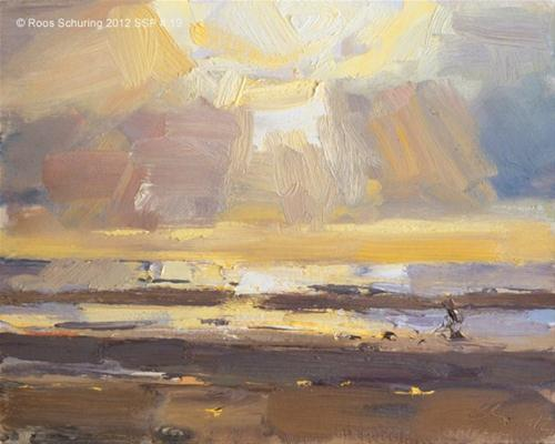 """Seascape spring # 19 Sunset I zonsondergang"" original fine art by Roos Schuring"