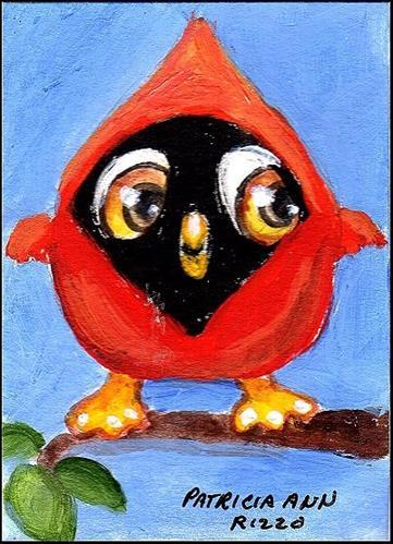 """""""Little Cardinalo"""" original fine art by Patricia Ann Rizzo"""