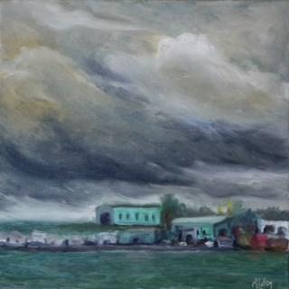 """Storm on the Bay"" original fine art by Maggie Flatley"