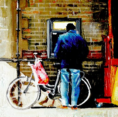 """""""ATM- Street Scene Painting Of Man WIth Bike In Front Of ATM Machine"""" original fine art by Gerard Boersma"""