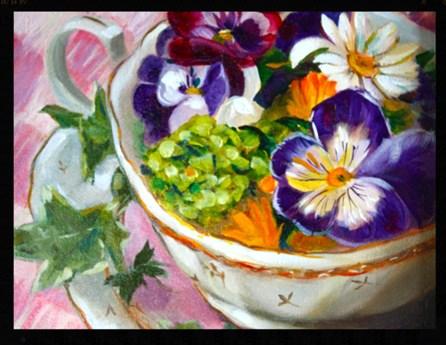 """""""Teacup of Pansies"""" original fine art by Linda Dunbar"""