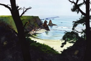 """Quiet Moment at Jug Handle Beach"" original fine art by Mariko Irie"