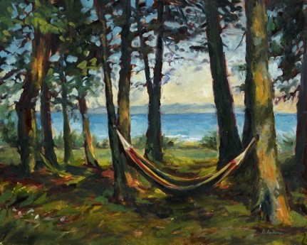 """""""Oil painting of a hammock"""" original fine art by Deb Anderson"""