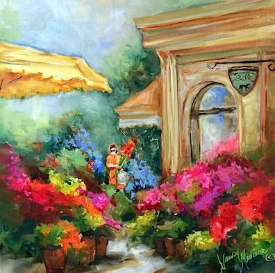 """French Shades Flower Market - Flower Landscape and Floral Paintings by Nancy Medina"" original fine art by Nancy Medina"
