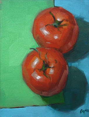 """Cool Tomatoes --- SOLD"" original fine art by Carol Marine"