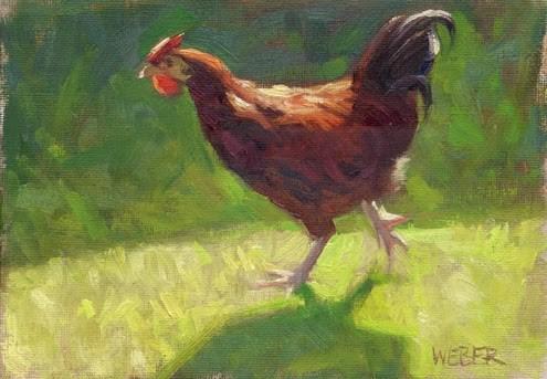 """Chickasaurus"" original fine art by Kathy Weber"