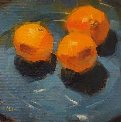 """""""Three on Blue"""" original fine art by Carol Marine"""