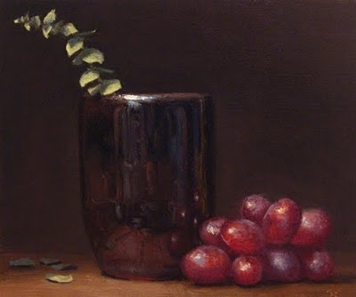 """""""Still Life with Eucalyptus, Grapes, and Bowl"""" original fine art by Abbey Ryan"""
