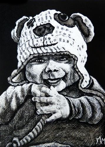 """""""Luca  (ACEO)"""" original fine art by Monique Morin Matson"""