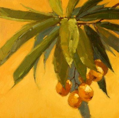 """Loquat Cluster 2"" original fine art by Laurel Daniel"